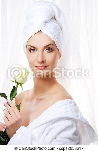 Beautiful woman with white rose - csp12053617