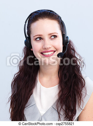 Beautiful woman working in a call center - csp2755821