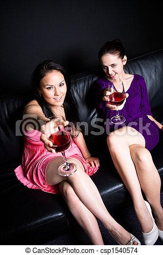 Beautiful women at a part - csp1540574