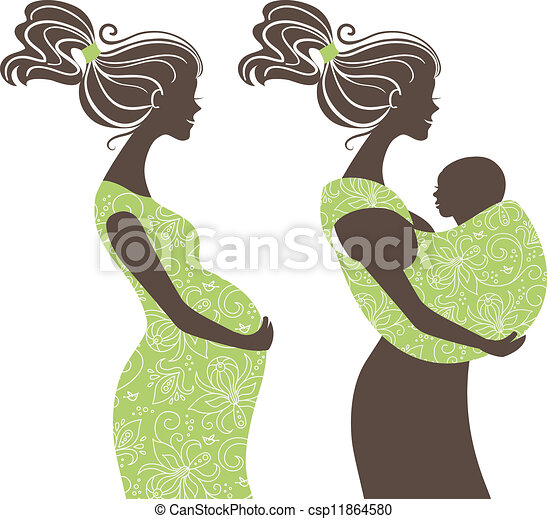 Beautiful women silhouettes. Pregnant woman and mother with baby in a sling - csp11864580
