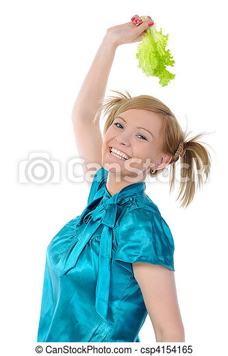 Beautiful women with lettuce in her hand - csp4154165