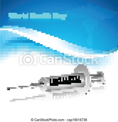 Beautiful world health day syringe reflection medical symbol colorful background - csp19016738
