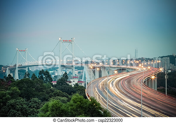 beautiful xiamen haicang bridge in nightfall  - csp22323000