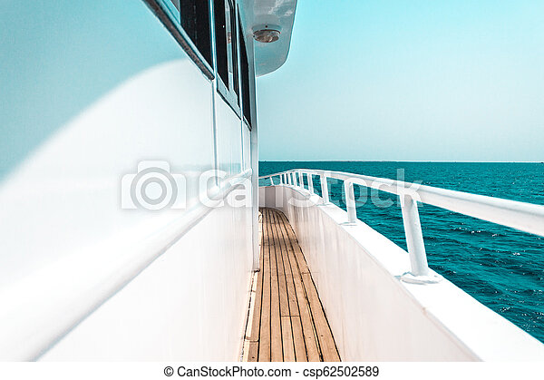beautiful yacht or ship parts, side view of yacht sailing on the sea