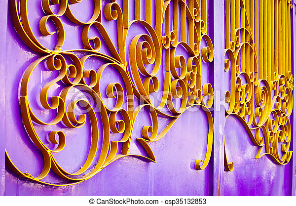 Beautiful Yellow Iron Frame On Purple Rust Door Used For Texture Or
