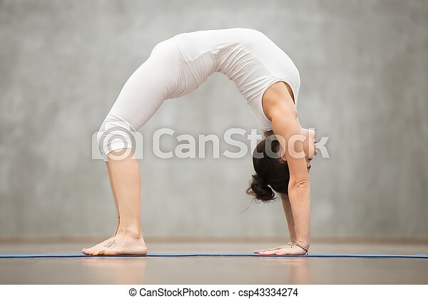 Beautiful Yoga Bridge Pose Side View Of Beautiful Young Woman With Tattoo On Her Foot Meaning Wild Kitty Working Out In