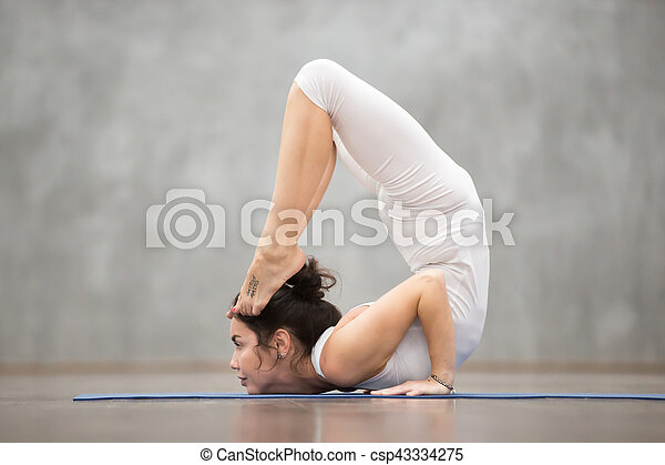 Beautiful Yoga Ganda Bherundasana Pose Side View Portrait Of Beautiful Young Woman With Tattoo On Her Foot Meaning Wild
