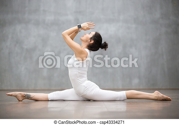 beautiful yoga splits pose attractive young woman