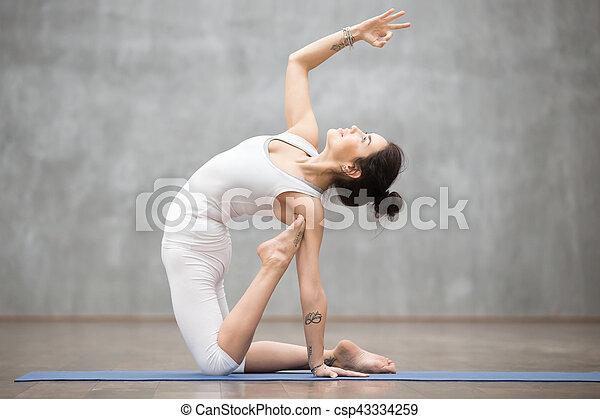 beautiful yoga ustrasana pose side view portrait of