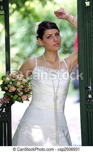 Beautiful young adult bride - csp2506931