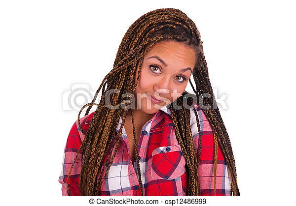 beautiful young African American woman with long black hair  - csp12486999