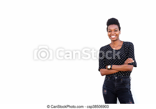 Beautiful young african woman standing confidently - csp38506903