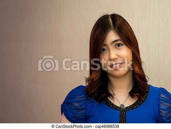 Beautiful Young Asian - Chinese Woman Smiling - csp46996538