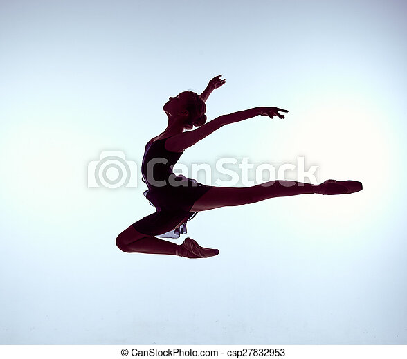 Beautiful young ballet dancer jumping on a gray background.  - csp27832953