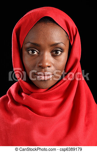 Beautiful young black religious woman in hijab - csp6389179