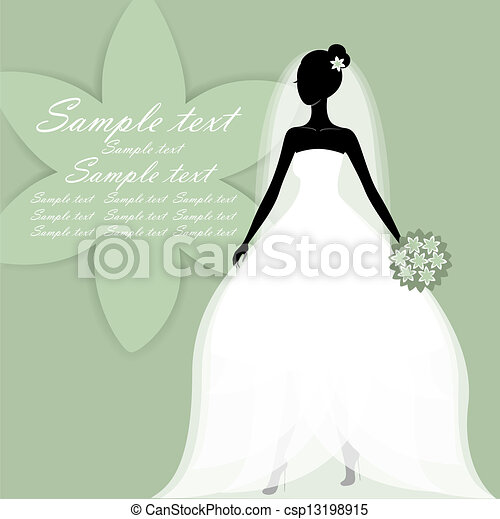 Beautiful young bride vector. Beautiful young bride in a... vector ...