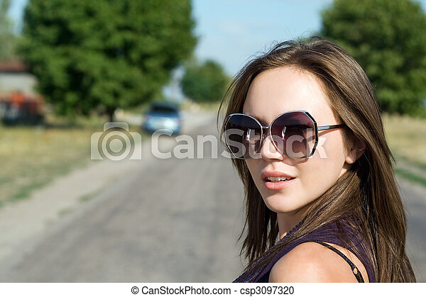 beautiful young brunette - csp3097320