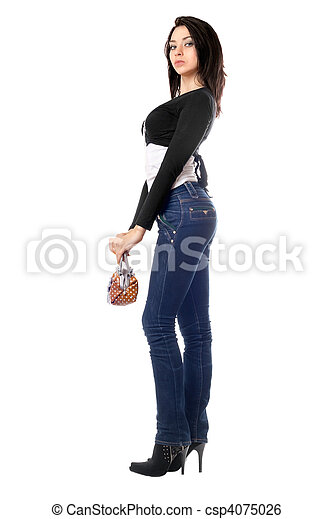 Beautiful young brunette with a handbag - csp4075026