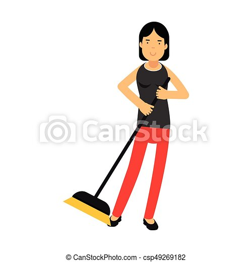 Beautiful young brunette woman housewife sweeping the floor, home cleaning and homework vector Illustration - csp49269182