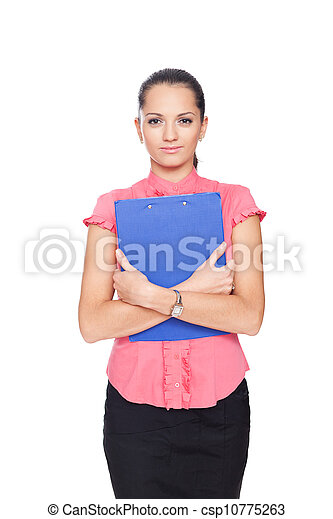 beautiful young business woman holding clipboard isolated on white background - csp10775263