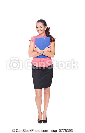 beautiful young business woman hugging clipboard isolated on white background - csp10775393