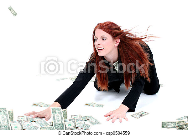 Beautiful Young Business Woman On Floor Grabbing Up Cash - csp0504559