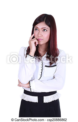 beautiful young business woman thinking - csp20886862
