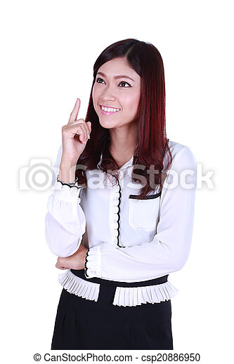beautiful young business woman thinking - csp20886950