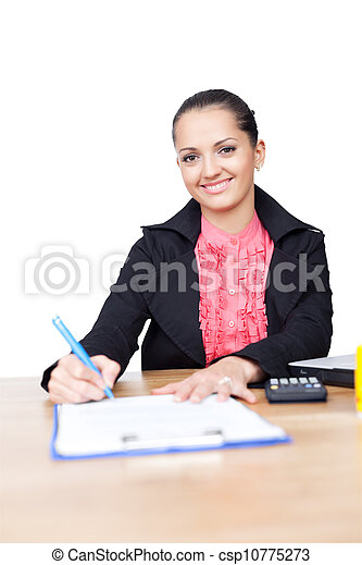 beautiful young business woman writing on clipboard on her desk isolated on white background - csp10775273