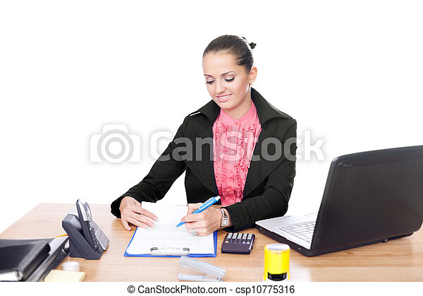 beautiful young business woman writing on clipboard on her desk isolated on white background - csp10775316