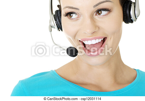 Beautiful young call-center assistant smiling - csp12031114