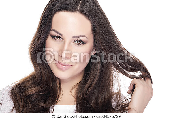 Beautiful Young Female Portrait on White Background.  - csp34575729