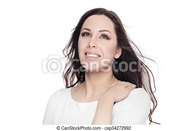 Beautiful Young Female Portrait on White Background.  - csp34272992