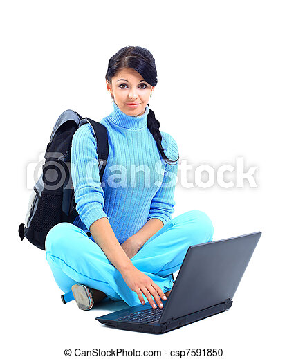 Beautiful young female student with a laptop, isolated on white  - csp7591850