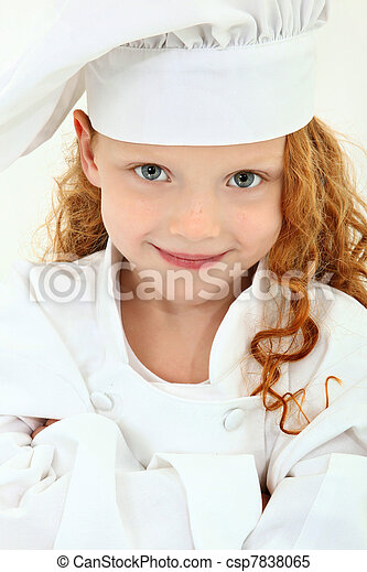 Beautiful Young Girl Child in Chef Uniform and Hat - csp7838065