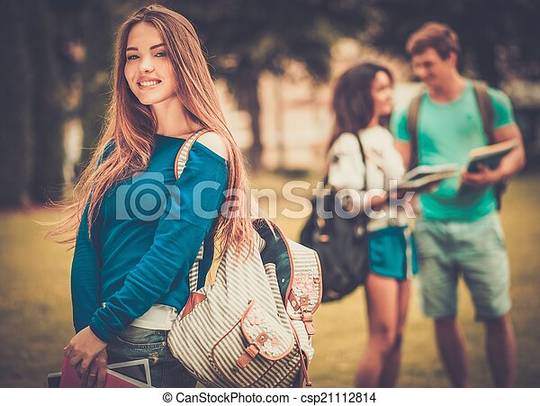 Beautiful young girl student in a city park on summer day  - csp21112814