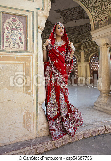 4f52957239 Beautiful young indian woman in traditional clothing with bridal makeup and oriental  jewelry - csp54687736