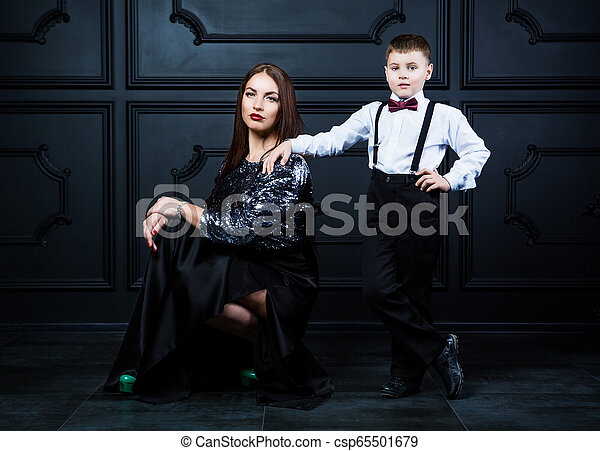 beautiful young mother with her son - csp65501679