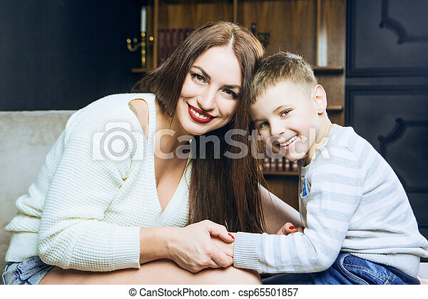 beautiful young mother with her son - csp65501857