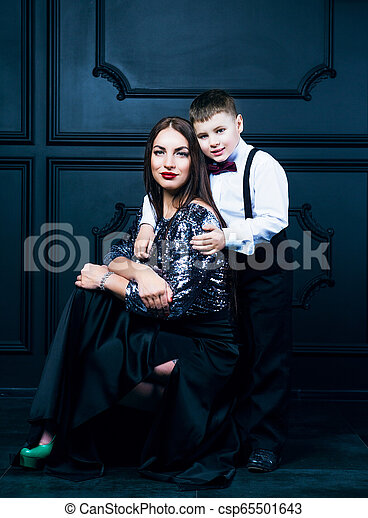 beautiful young mother with her son - csp65501643