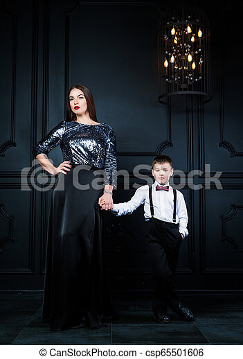 beautiful young mother with her son - csp65501606
