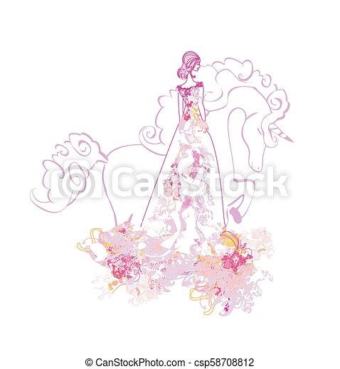 Beautiful young princess and unicorn - csp58708812