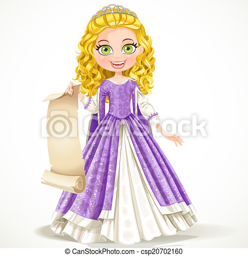 Beautiful young princess in purple dress holding a blank sheet of parchment isolated on white background - csp20702160