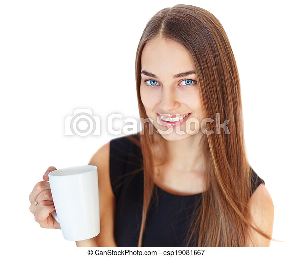 Beautiful young smiling woman with cup - csp19081667