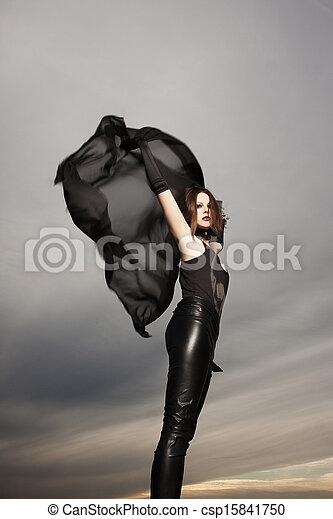 Beautiful young woman dancing  - csp15841750