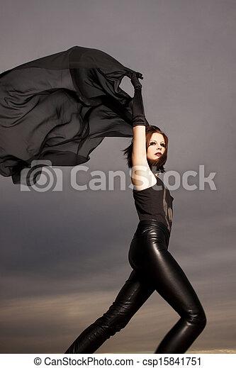 Beautiful young woman dancing  - csp15841751