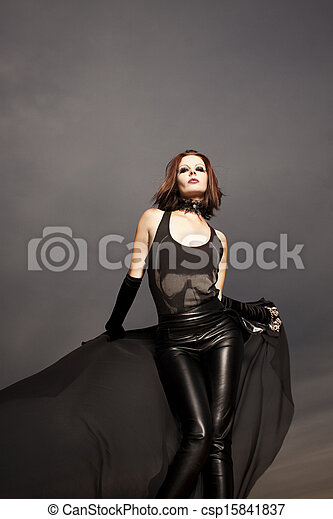 Beautiful young woman dancing  - csp15841837