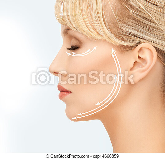 beautiful young woman face with arrows - csp14666859