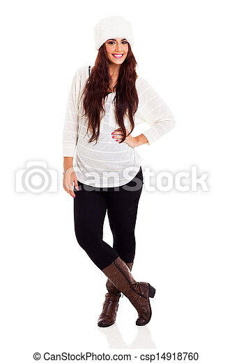 beautiful young woman full length portrait - csp14918760