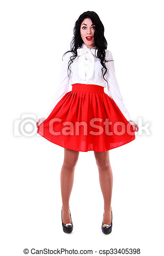 403e1cf2c2 Beautiful young woman in a white blouse and a red skirt isolated ...